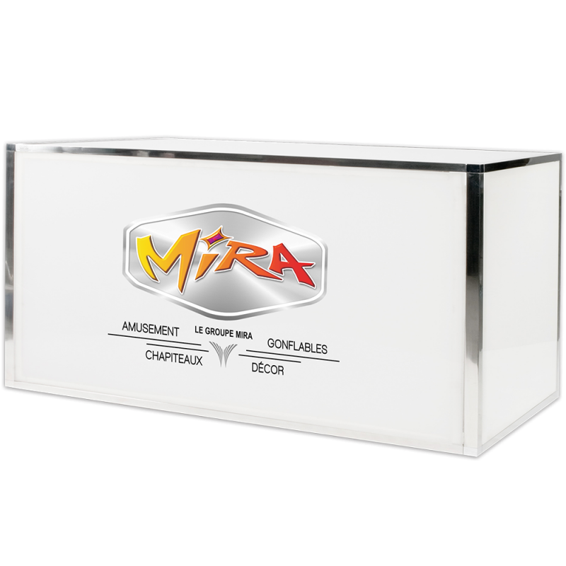 Gala Plexi Bar 6ft. White-Chrome, Custom Logo