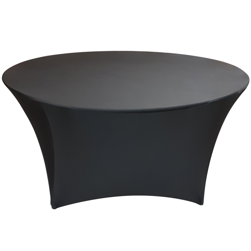 Spandex Fitted Table Cover - 60' Round Black