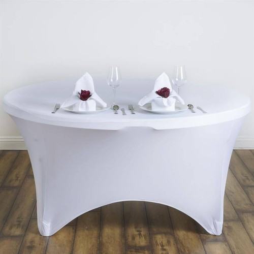 Spandex Fitted Table Cover - 60' Round White