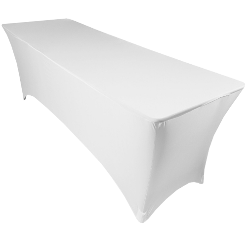 Spandex Fitted Table Cover - 6' Rectangle White