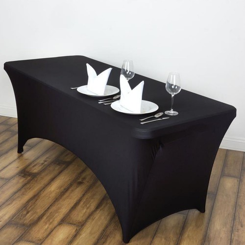 Spandex Fitted Table Cover - 6' Rectangle Black
