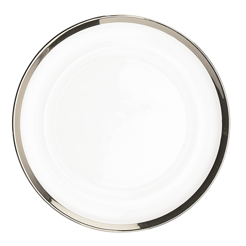 "Glass Charger Plate - 13"" Silver Border"