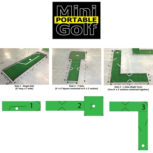 Mini Golf Portable 3-Trous